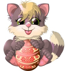 Kitten and easter egg vector