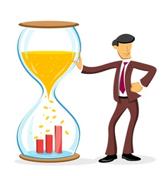 Businessman with hourglass vector