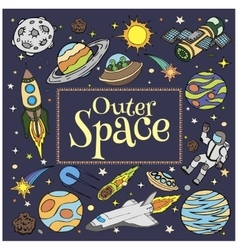 Outer space doodles symbols and design elements vector