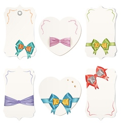 Set of cards with colorful gift bows and ribbons vector