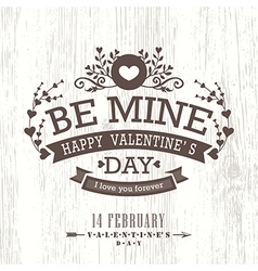 Valentine day card with floral vintage banner sign vector