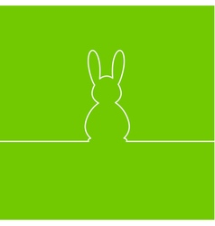 Easter bunny one line on white background vector