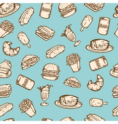 Vintage food pattern vector