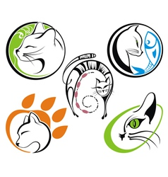 Cat silhouette collections vector