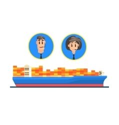 Cargo ship and logistic managers portraits vector