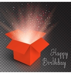 Magic box with confetti and magic light happy vector