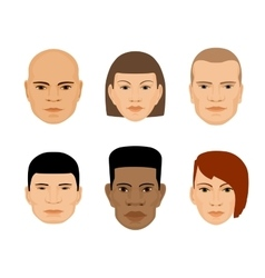 Set of human faces different gender and ethnicity vector