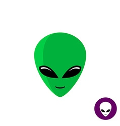 Alien face logo Planet UFO intruder with big green vector image vector image