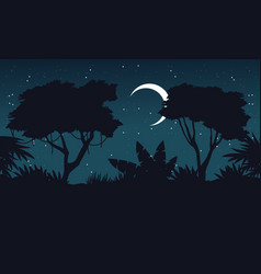 At night jungle scenery silhouette theme vector