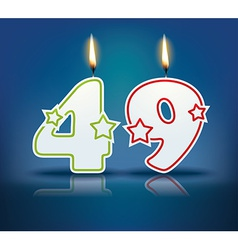 Birthday candle number 49 vector image vector image