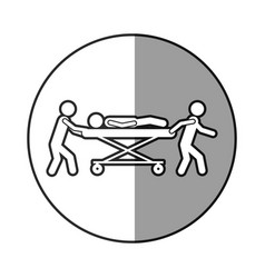 circular frame shading with pictogram paramedics vector image vector image