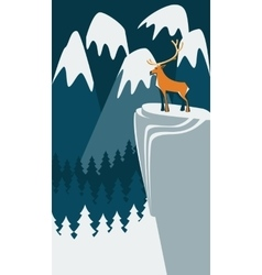 Deer on the mountain vector image vector image