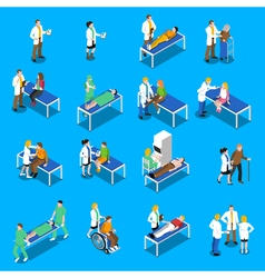 Doctor Patient Communication Isometric Icons Set vector image