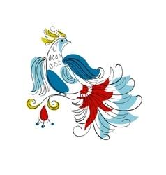 Fantasy firebird in russian ornamental style vector