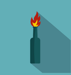 Fire bottle icon flat style vector
