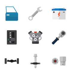 flat icon auto set of accumulator ratchet vector image vector image