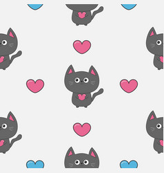gray contour cat holding pink heart set cute vector image