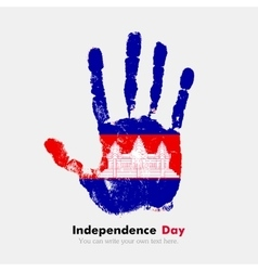 Handprint with the flag of cambodia in grunge vector