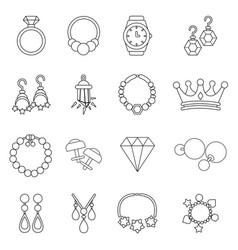 Jewelry shop icons set outline style vector