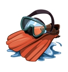 Picture with water mask and red flippers vector