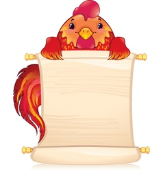 Red fire rooster with scroll vector image vector image