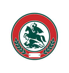 Saint george slaying dragon circle retro vector