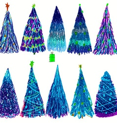 Set of Christmas colored trees isolated on white vector image