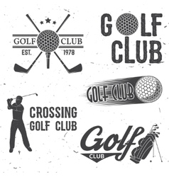 Set of golf club concept with golfer silhouette vector