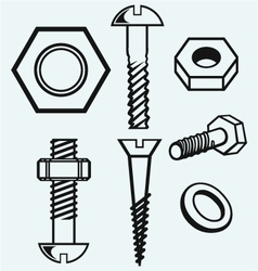 Set of screws vector
