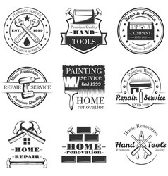 set of vintage home repair labels badges vector image vector image