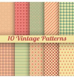 Vintage different seamless patterns tiling vector image