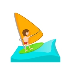 Yacht racing cartoon icon vector