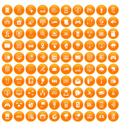 100 network icons set orange vector image vector image