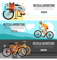 Biking adventure horizontal banners vector