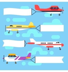 Flying airplanes and helicopters with blank vector image