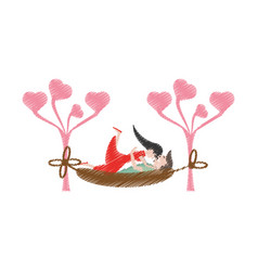 Drawing couple lying down hammock vector