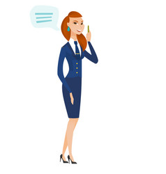 Young caucasian stewardess with speech bubble vector