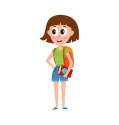 Young pretty woman tourist with backpack and vector