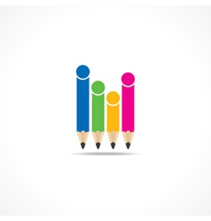Colorful pencils make family icon vector