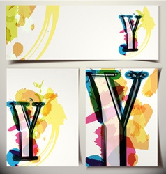 Artistic greeting card letter y vector