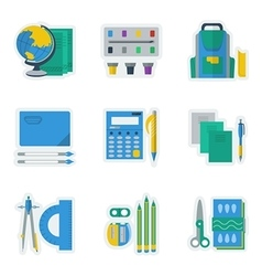 Colored icons for school items vector