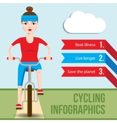 Bicycle infographics concept with front view of vector