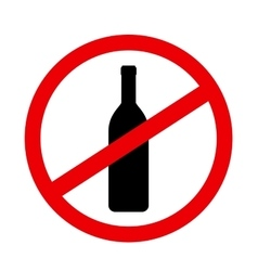 Sign stop alcohol with wine bottle vector
