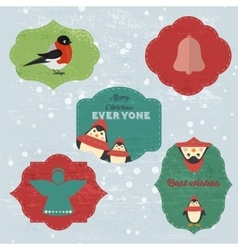 Christmas set with notes stickers labels with vector