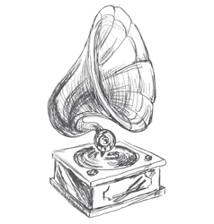 Vintage gramophone doodle style vector