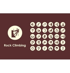 Set of rock climbing simple icons vector