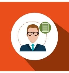 Business person with document isolated icon design vector