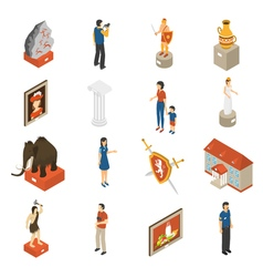 Art museum isometric icons set vector