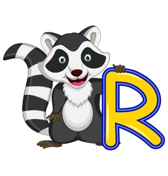 Raccoon cartoon posing vector