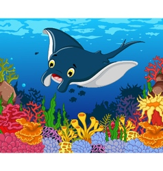 Funny stingray cartoon with beauty sea life backgr vector